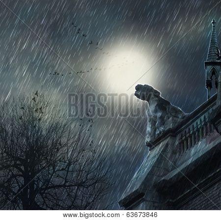 Rainy night and castle