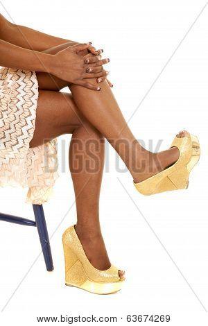 African American Woman Legs Heels Sitting