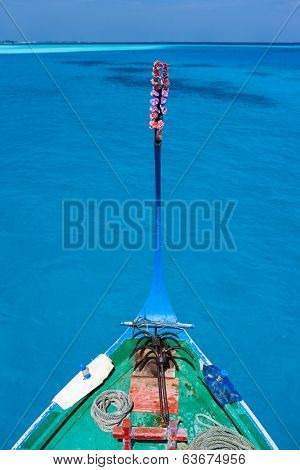 Close up of a traditional maldivian boat dhoni in a tropical ocean