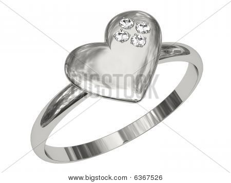Platinum Or Silver Ring In The Shape Of Heart With Diamonds