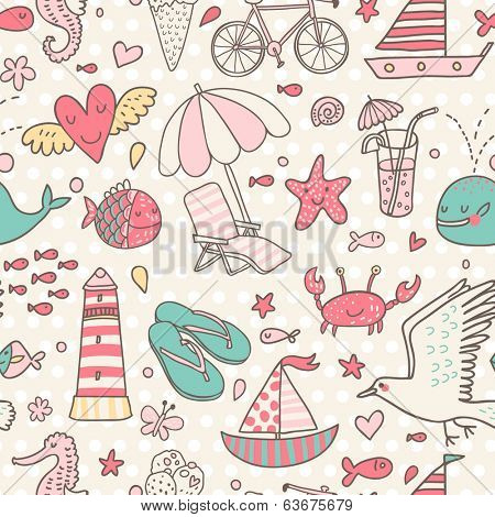 Funny seamless pattern with summer elements: lounge, seagull, umbrella, bicycle, ice-cream, crab, whale, cocktail, lighthouse, fishes, yacht, seahorse.