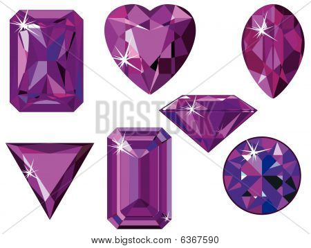 Different cut amethysts