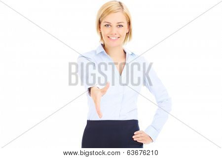 Young businesswoman greeting over white background isolated