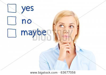 Businesswoman is making decision over white background