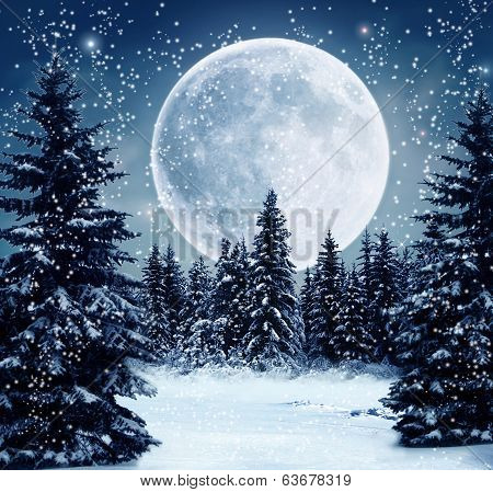 Full moon and winter