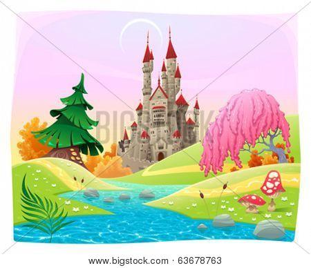 Mythological landscape with medieval castle. Cartoon and vector illustration.