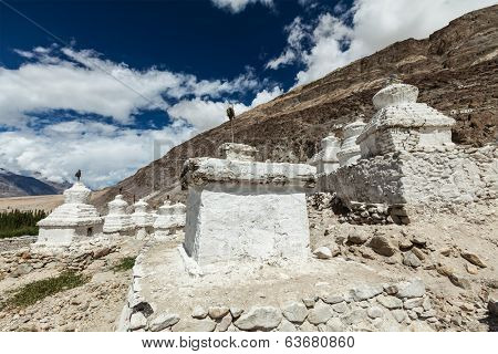 Chortens (Tibetan Buddhism stupas) in Himalayas. Nubra valley, Ladakh, India