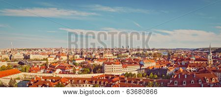 Vintage retro hipster style travel image of panorama view of Prague from Prague Castle. Prague, Czech Republic