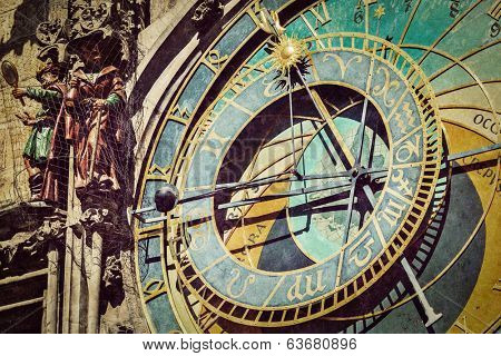 Vintage retro hipster style travel image of astronomical clock on Town Hall. Prague, Czech Republic with grunge texture overlaid