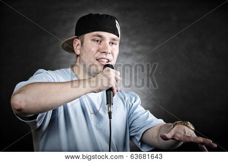 Rap Singer Man With Microphone Cool Hand Gesture