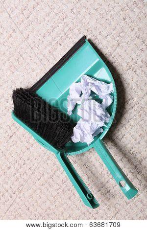 Green Sweeping Brush Dustpan With Garbage, Housework