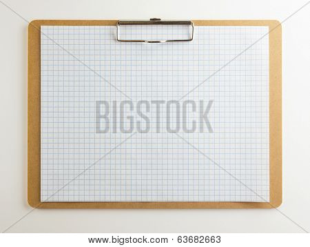 Horizontal clipboard with blank graph paper or (scaled paper)with natural white background. Square to image dimension.
