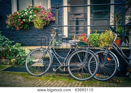 Retro style bicycles in Amsterdam, Netherlands