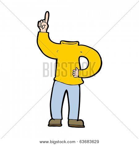 cartoon headless body with raised hand