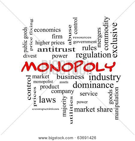 Monopoly Word Cloud Concept In Red Caps