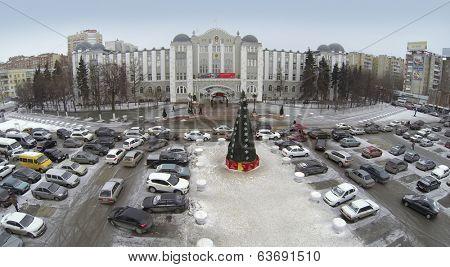 RUSSIA, SAMARA - JAN 4, 2014: Aerial view to Office Kuibyshev Railway with large openair car parking