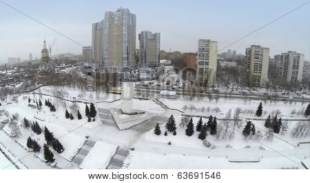 RUSSIA, SAMARA - MAY 6, 2014: Aerial view to residential complex Rook and Stela Rook in the winter.