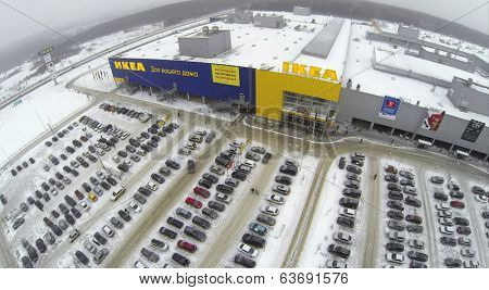 SAMARA, RUSSIA - JAN 05, 2014 : Aerial view to family store IKEA in Samara with car parking.