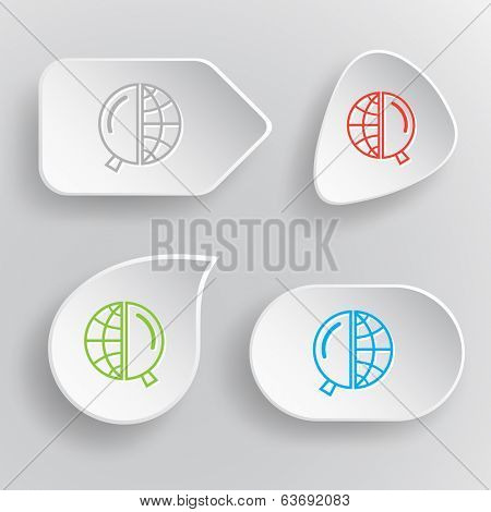 Globe and magnifying glass. White flat vector buttons on gray background.