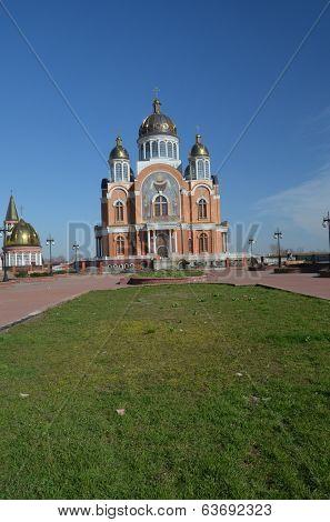 KIEV, UKRAINE - APR 7, 2014:Modern Orthodox Cathedral under construction.April 7, 2014 Kiev, Ukraine