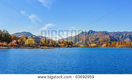 Lake Kawaguchi (kawaguchiko) At Fujikawaguchiko In Japan