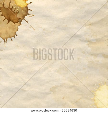 Vintage Paper With Coffee Stains, Vector Illustration