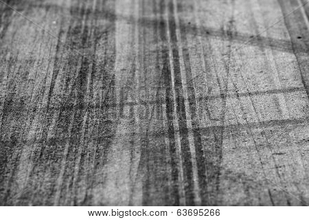 Tire Marks On Road Track