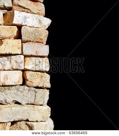brick wall on black background