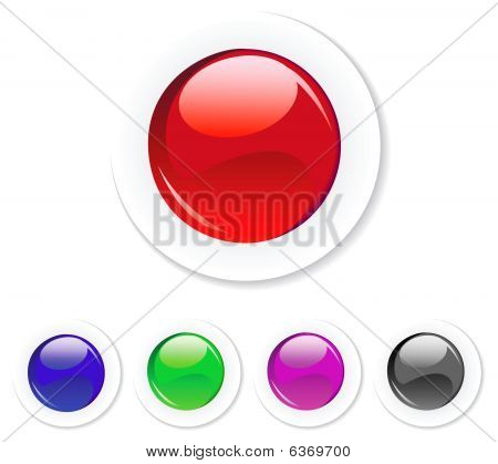 Round glossy button