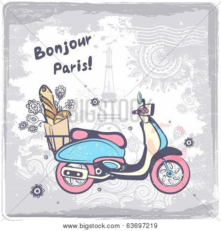 Vintage vector Paris postcard illustration