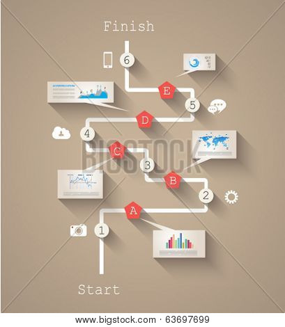 Infographic design template with paper tags. Idea to display information, ranking and statistics with orginal and modern style