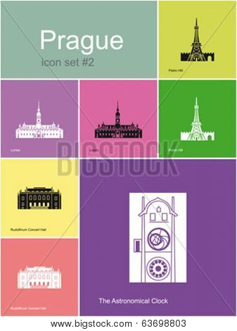 Landmarks of Prague. Set of flat color icons in Metro style. Editable vector illustration.
