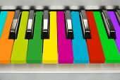 picture of rainbow piano  - Background of colorful piano keyboard - JPG