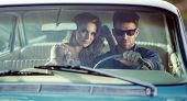 image of luxury cars  - Sexy couple in the car - JPG