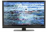 picture of distort  - Digital HD LCD TV with Distorted Picture on Screen and Background Clipping Path - JPG
