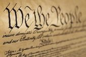 picture of preamble  - Preamble of the United States Constitution at an angle with a shallow depth of field - JPG