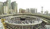 stock photo of masjid  - Muslim people praying at Kaaba in Mecca - JPG