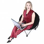 Illustration Woman In Red With Laptop In Black Chair poster