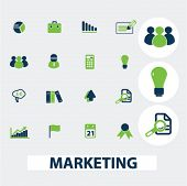 marketing, retail, sales icons set, vector