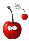 stock photo of googly-eyes  - Ripe red happy little cartoon cherry with a happy smile and googly eyes isolated on white - JPG