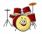 picture of drum-set  - Drum set for a musical performance with a band with the drum in the foreground having a big happy laughing smile - JPG