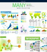 Infographics collections vector illustration - mega collection with many elements