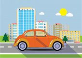 Car on  a road in the city. Vector illustration.