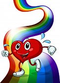 Illustration of a heart walking above the rainbow on a white background