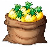 Illustration of a sack of pineapples on a white background