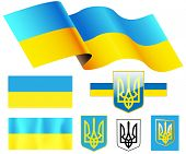 illustration Map, Flag, Emblem of Ukraine