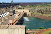 pic of hydroelectric power  - Itaipu Dam hydroelectric power station Brazil Paraguay - JPG