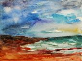 picture of abstract painting  - watercolor abstract painting showing an ocean coast - JPG