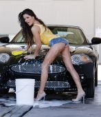 Brunette Model At The Car Wash