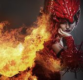 foto of woman dragon  - Girl on fire - JPG
